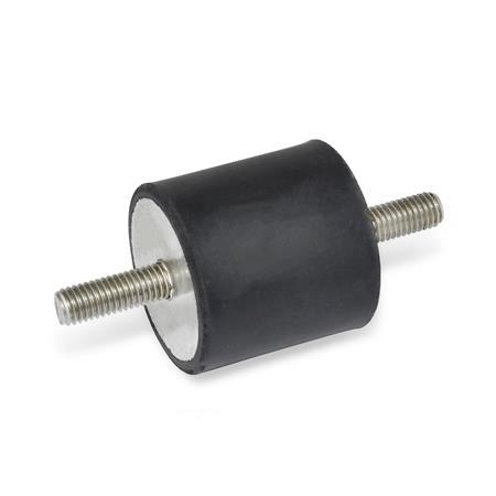 GN 451.1 Vibration Isolation Mounts, Cylindrical Type, with Stainless Steel Components
