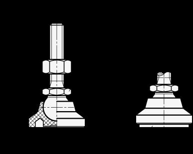 GN 343.4 Soportes de nivelación con base de plástico tecnopolímero, tipo espárrago de acero, con o sin almohadilla de caucho boceto