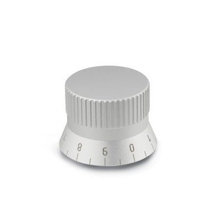 GN 723.4 Perillas de control moleteadas, medidas métricas, de aluminio, con tornillo prisionero de cabeza hueca  Tipo: S - con escala 0...9, 20 graduaciones