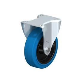 B-POEV Steel Medium Duty Pressed Steel Fixed Casters, with Plate Mounting Type: R-SB - Roller Bearing with Blue Wheel