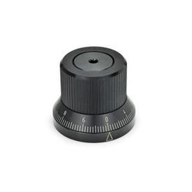 GN 700 Perillas de indexado de acero, con posicionado continuo Tipo: S - con escala estándar 0...9, 100 graduaciones, ac. d1/100 A RA 0-10-20...90 / 10