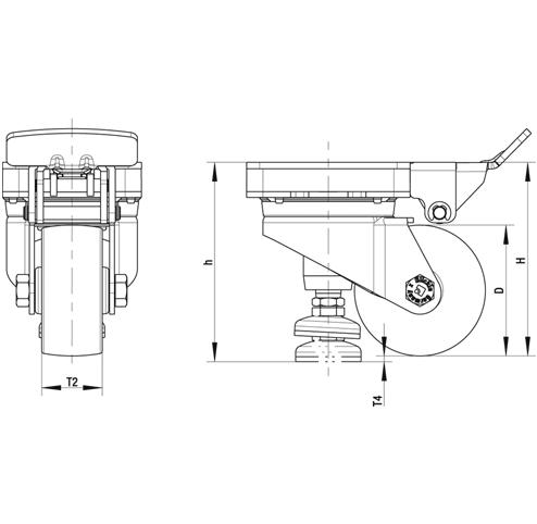 HRLK-ALTH Rodaja de nivelación con banda Extrathane® de servicio pesado de acero, con cabezal giratorio, con placa de montaje boceto