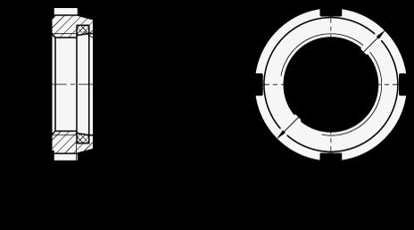 GN 1804.1 Tuercas cilíndricas ranuradas de acero, con inserto de poliamida boceto