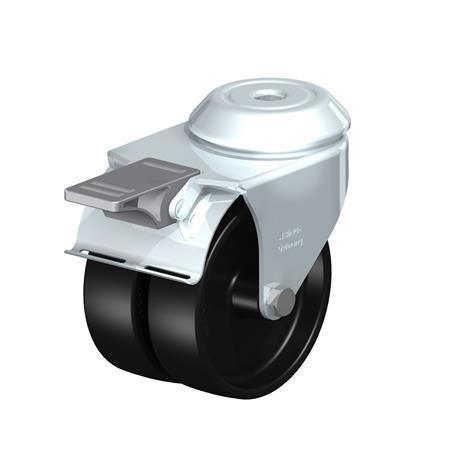 LMDA-POA Steel, Black Nylon Twin Wheeled Swivel Casters with Bolt Hole Mounting, Standard Bracket Series Type: G-FI - Plain Bearing with Stop-Fix Brake