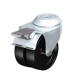 LMDA-POA Rodajas giratorias de acero con ruedas gemelas de nylon negro, montaje con agujero para perno, serie de soportes estándar Type: G-FI - Cojinete liso con freno «stop-fix»