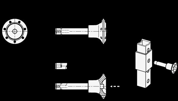 GN 114.3 Vástago de acero inoxidable y pasadores sujetadores, pasadores de liberación rápida boceto