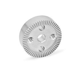 GN 187.4 Placas de bloqueo dentadas de acero inoxidable Tipo: D - con perforación en el centro, con dos agujeros de montaje roscados