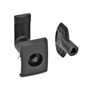 EN 115.5 Plastic Door Locking Mechanisms, for snap-in mounting Type: DK - Operation with triangular spindle (DK6,5)<br />Finish: SW - Black, RAL 9005, textured finish<br />Identification no.: 2 - Lock housing with stop, rectangular with handle