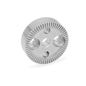 GN 187.4 Placas de bloqueo dentadas de acero inoxidable Tipo: B - con perforación en el centro, con dos agujeros avellanados para tornillos de cabeza