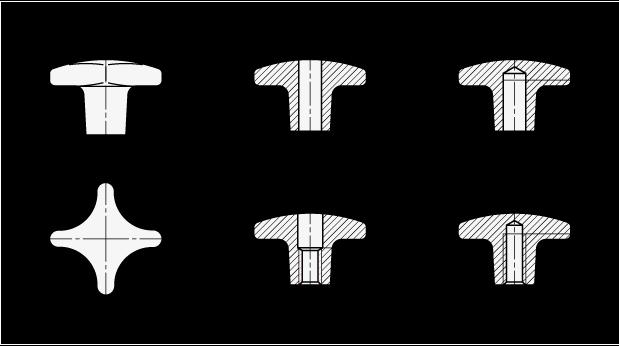 DIN 6335 Perillas manuales de hierro fundido, orificio ciego roscado, orificio pasante y orificio pasante roscado boceto