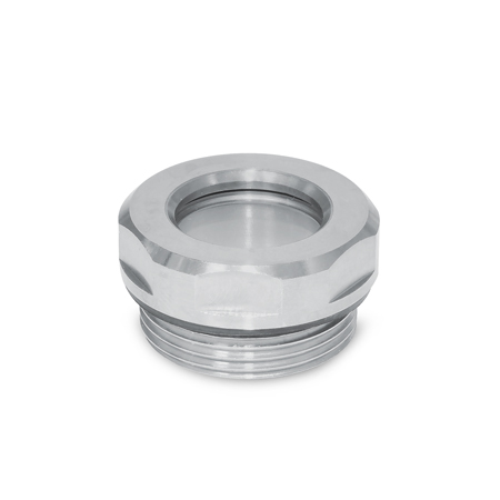 GN 743.5 Stainless Steel Fluid Level Sight Glasses, with ESG Glass, resistant up to 356° F (180° C)
