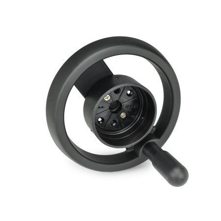 EN 522.8 Volantes de dos radios de plástico tecnopolímero, para indicadores de posición EN 000.8 / EN 000.3 Tipo: D - con mango giratorio