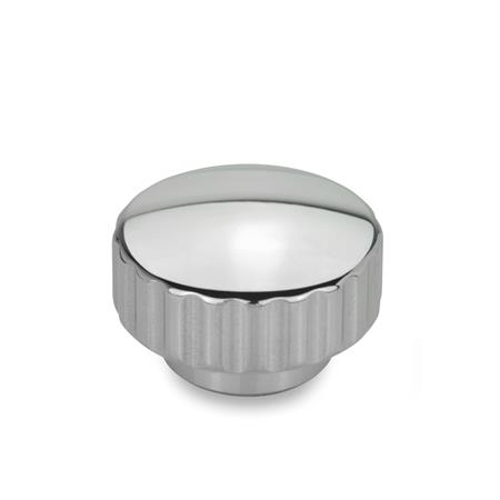 GN 536 Stainless Steel Knurled Nuts, Tapped Finish: PL - Highly polished finish