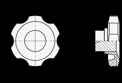 LMA Perillas de control de seis lóbulos, de nylon plastificado, con núcleo pasante de acero boceto