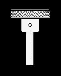 KRSK Perillas moleteadas de acero o acero inoxidable, con espárrago roscado boceto
