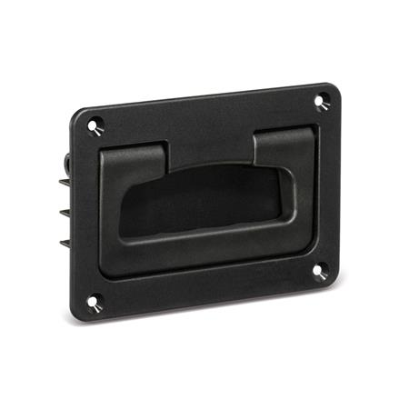 EN 825.2 Technopolymer Plastic Folding Handles with Recessed Tray, with Spring-Loaded Return Color: SW - Black, RAL 9005, matte finish