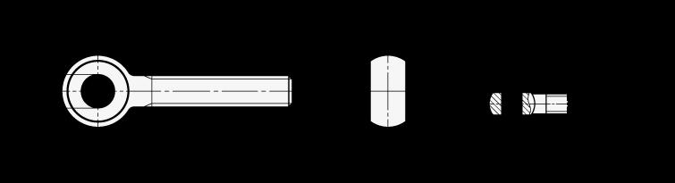 GN 1524 Tornillos de ojo de acero, con longitud extendida de la rosca boceto