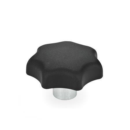 GN 6336.2 Technopolymer Star Knobs, with protruding steel hub