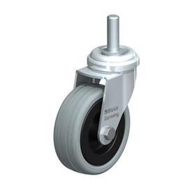 LRA-VPA Rodajas giratorias de acero con ruedas de caucho gris, montaje con agujero para perno, serie de soportes estándar Type: G-GS