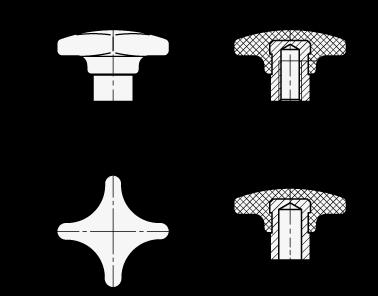 GN 6335.2 Perillas manuales de tecnopolímero, con núcleo de acero, orificio roscado y ciego boceto