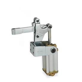 GN 862 Steel Pneumatically operated clamps, with Vertical Mounting Base with magnetic piston Type: EPV3 - Solid bar version, with clasp