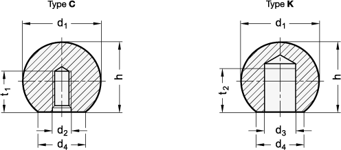 DIN 319 Perillas de bola, acero o aluminio, con orificio roscado o ciego boceto