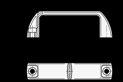 MF Jaladeras en «U» para gabinete de nylon plastificado, con agujeros de montaje avellanados boceto