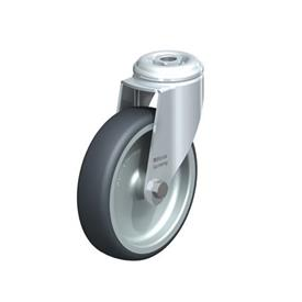 LKRA-TPA Rodajas giratorias de acero de servicio ligero, con ruedas de caucho termoplástico y ajuste con agujero para perno, serie de soportes pesados  Type: G - Cojinete liso
