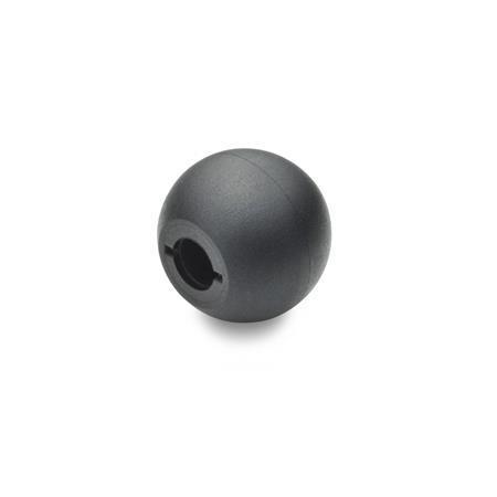 DIN 319 Perillas de bola de plástico, tipo a presión Material: KT - Plástico Tipo: M - Con orificio roscado