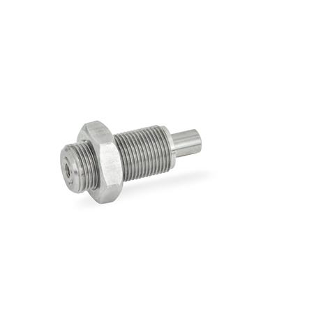 GN 313 Stainless Steel / Plastic knob Spring bolts, Plunger retracted in normal position Material: NI - Stainless steel<br />Type: DK - with lock nut, without knob<br />Identification no. : 2 - Pin with internal thread