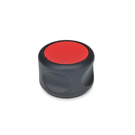 EN 624.5 Technopolymer Plastic Ergostyle® Soft Grip Knobs, with Stainless Steel Hub Color of the cap: DRT - Red, RAL 3000, matte finish