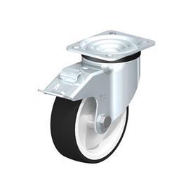 LK-POTH Rodajas giratorias de acero con rueda con banda de poliuretano de servicio medio, con placa de montaje, serie de soportes de servicio medio-pesado Type: G-FI - Cojinete liso con freno «stop-fix»