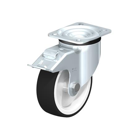 LK-POTH Steel Medium Duty Swivel Caster with Polyurethane Treaded Wheel, with Plate Mounting, Medium-Heavy Duty Bracket Series Type: G-FI - Plain Bearing with Stop-Fix Brake