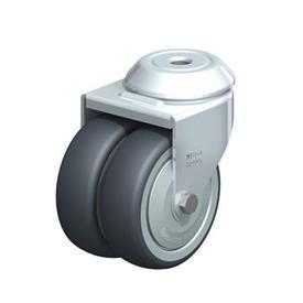 LMDA-TPA Rodajas giratorias de acero de servicio ligero, con ruedas gemelas de caucho termoplástico y ajuste con agujero para perno, serie de soportes estándar  Type: K-FK