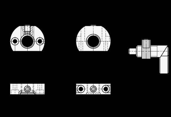 GN 612.1 Bloques de montaje de acero inoxidable, para posicionadores de indexado boceto