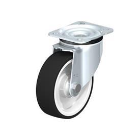 LK-POTH Rodajas giratorias de acero con rueda con banda de poliuretano de servicio medio, con placa de montaje, serie de soportes de servicio medio-pesado Type: K - Cojinete de bolas