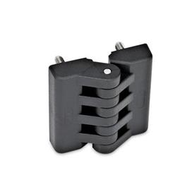 EN 151 Plastic Hinges, Miscellaneous Mounting Types Type: D - 2x2 threaded studs