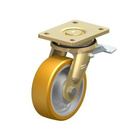 LS-GTH Steel Welded Construction Heavy Duty Extrathane® Treaded Swivel Casters, with Plate Mounting, Extra Strength Swivel Head Design Series Type: K-ST - Ball Bearing with Stop-Top Brake
