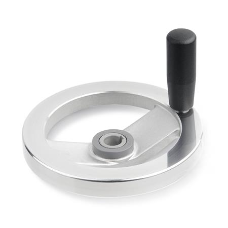 GN 322.4 Two Spoked Aluminum Safety Clutch Handwheels, with Friction Bearing  Type: D - With revolving steel handle