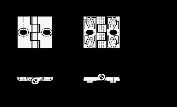 GN 161 Bisagras de zinc fundido a presión, para perfiles de aluminio boceto