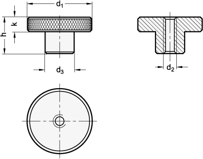 KRSK Steel or Stainless Steel Knurled Knobs, with Tapped Through Hole sketch