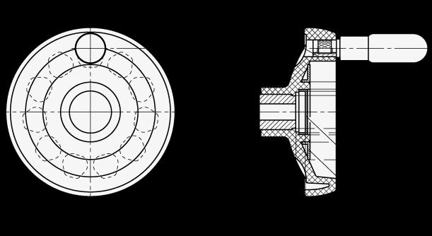 EN 524 Volantes de disco sólidos, plástico tecnopolímero, con o sin empuñadura giratoria boceto