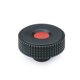 EN 534 Technopolymer Plastic Diamond Cut Knurled Knobs, Tapped or Plain Blind Bore Insert, with Red Cap