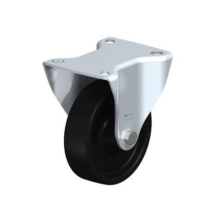 B-PHN Rodajas fijas de acero con rueda de plástico fenólico, de servicio medio, resistentes al calor, con placa de montaje Type: G - Cojinete liso