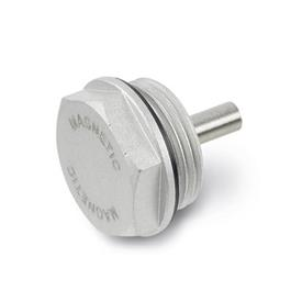 GN 738 Tapones roscados magnéticos de aluminio, con acabado anodizado negro, sello de NBR
