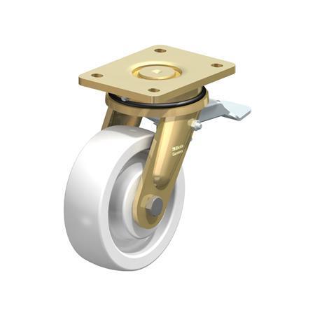 LS-SPO Rodajas giratorias de acero con rueda de nylon blanco de servicio pesado, con placa de montaje, serie de construcción soldada Type: K-ST