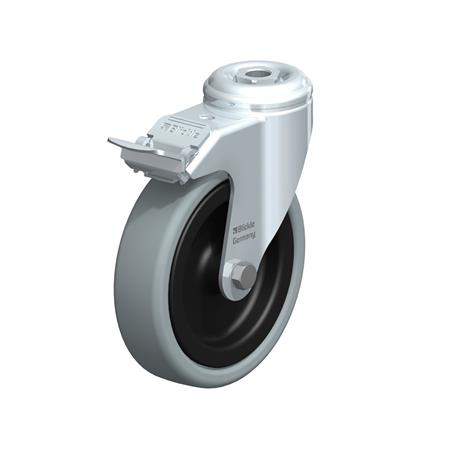 LKRA-VPA Steel Light Duty Gray Rubber Wheel Swivel Casters, with Bolt Hole or Threaded Stud Mounting, Heavy Bracket Series Type: G-FI - Plain Bearing with Stop-Fix Brake