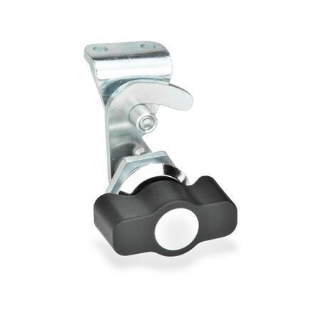 GN 115.8 Pestillos tipo gancho de zinc fundido a presión, operación con diferentes componentes, no bloqueables Tipo: KG - Funcionamiento con llave de apriete<br />Identificación núm.: 2 - con soporte de cerradura<br />Anillo de posición de acabado: CR - Acabado cromado