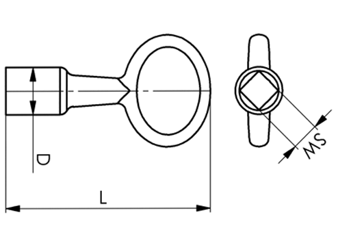 DIN 7417 Square Socket Key	 sketch