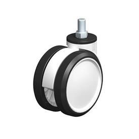 LKDG-PUA Rodajas giratorias con ruedas gemelas de nylon plastificado, con vástago roscado Type: G - Cojinete liso